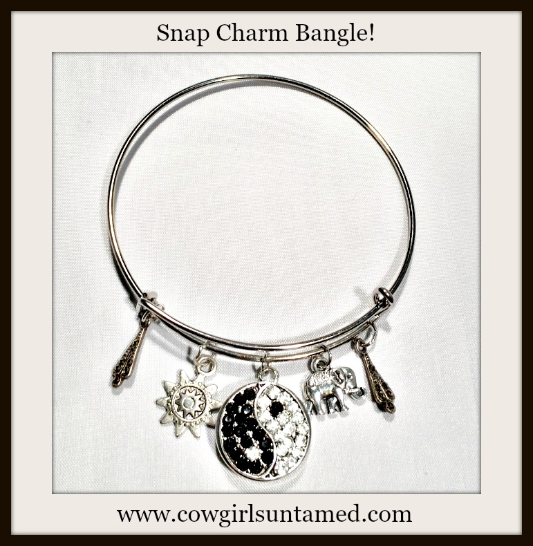 COWGIRL GYPSY BRACELET Silver Bangle with Rhinestone Ying Yang Snap, Elephant, Sun, & Antique Jewelry Charms Boho Bangle