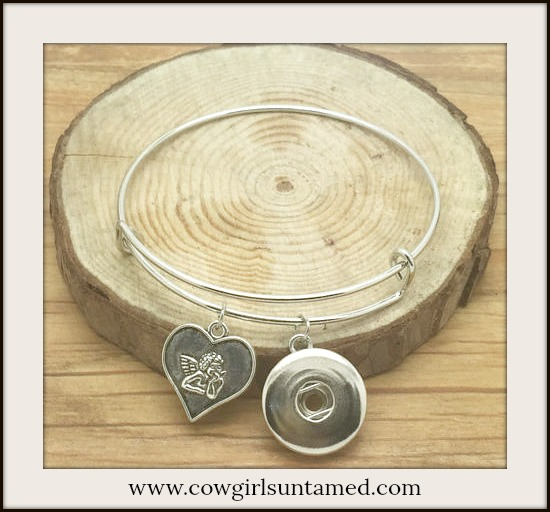 COWGIRL ATTITUDE BRACELET Silver Angel & Heart Charm Silver Snap Bangle