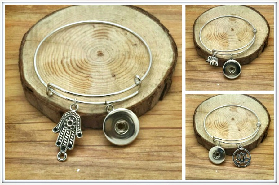 BOHEMIAN COWGIRL BRACELET Boho Charms on Silver Snap Bangle