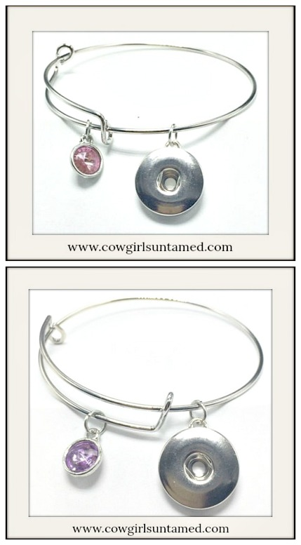 COWGIRL ATTITUDE BRACELET Crystal Charm Silver Snap Bangle