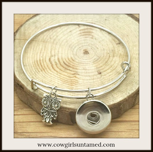 BOHEMIAN COWGIRL BRACELET Owl Charm on Silver Snap Bangle