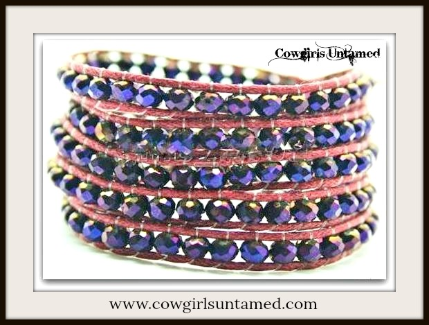 COWGIRL GYPSY BRACELET Blue Crystal & Red Leather Western Wrap Bracelet