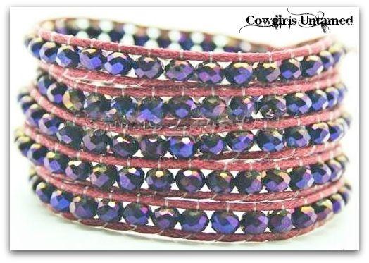COWGIRL GYPSY BRACELET Blue Crystal & Red Leather Western Wrap Bracelet