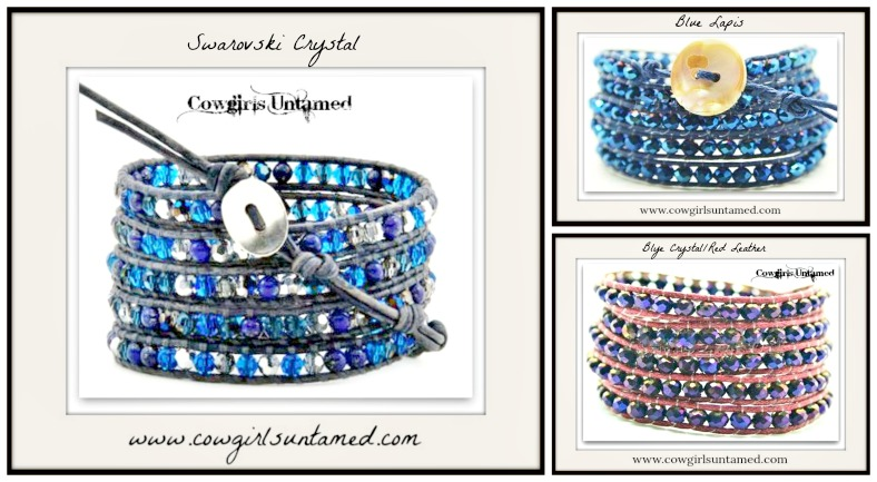 COWGIRL GYPSY BRACELET Blue Beaded Wrap Bracelet  3 STYLES!