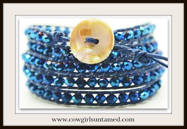 COWGIRL GYPSY BRACELET Blue Lapis and AB Crystal Western Wrap Bracelet