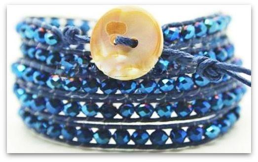 COWGIRL GYPSY BRACELET Blue Lapis Lazuli and AB Crystal Western Wrap Bracelet