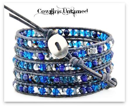 COWGIRL GYPSY BRACELET Blue Swarovski Crystal Wrap Bracelet