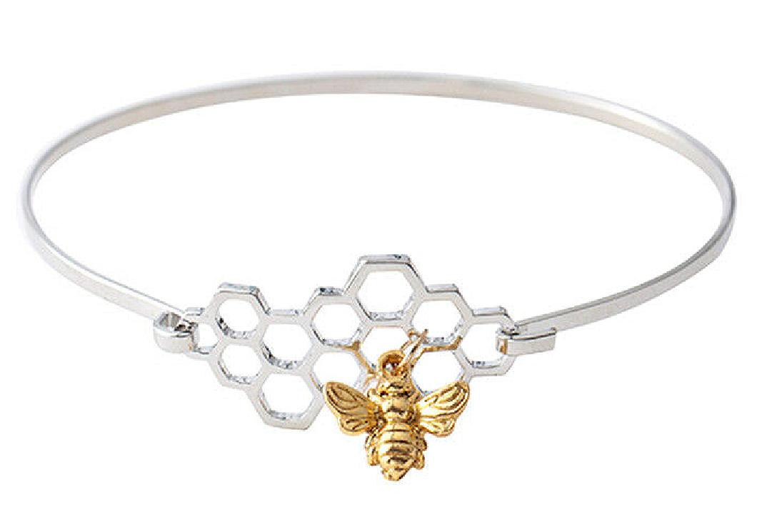 BEE KIND BRACELET Gold Bee Charm Silver Honeycomb Womens Bangle Bracelet