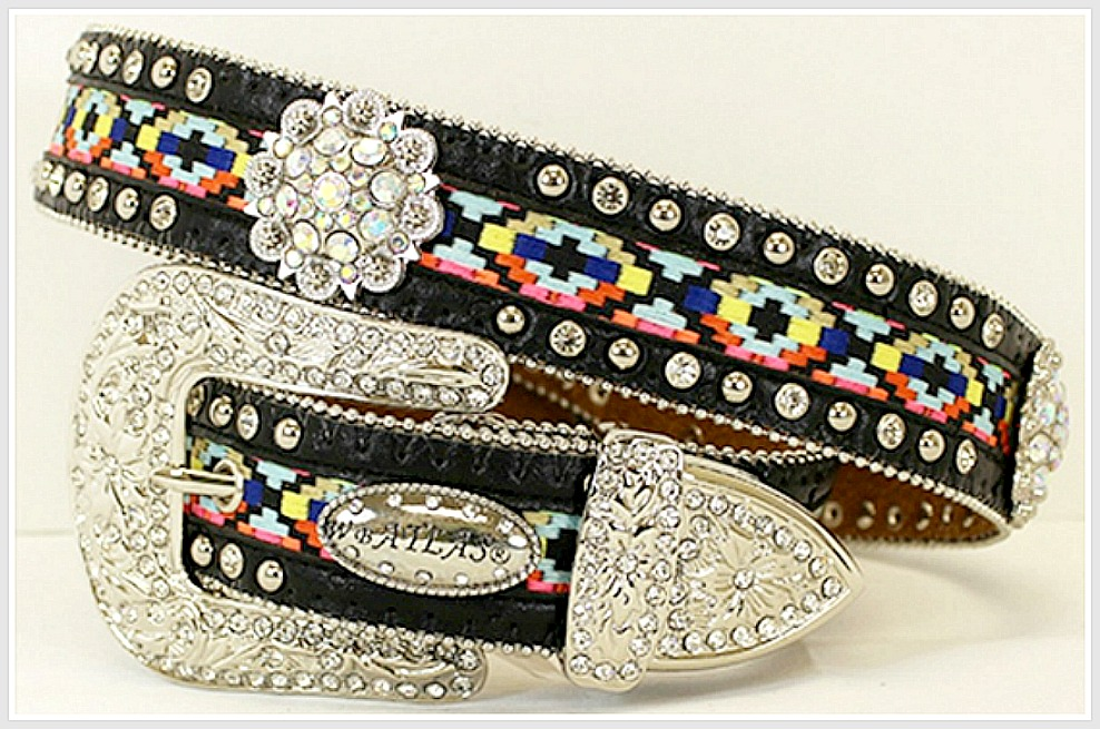 COWGIRL GYPSY BELT Aztec Design with Silver Rhinestone Concho and Buckle LAST ONE Med