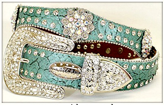 WESTERN COWGIRL BELT Silver Rhinestone Concho Aqua Leather Western Belt LAST ONE Small