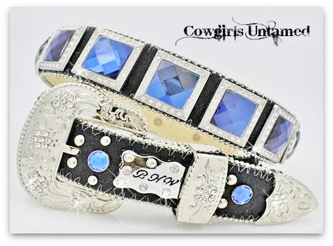 COWGIRL STYLE BELT Navy Blue Crystal with Rhinestones Square Conchos with Silver Rhinestone Buckle on Black Leather Western Belt