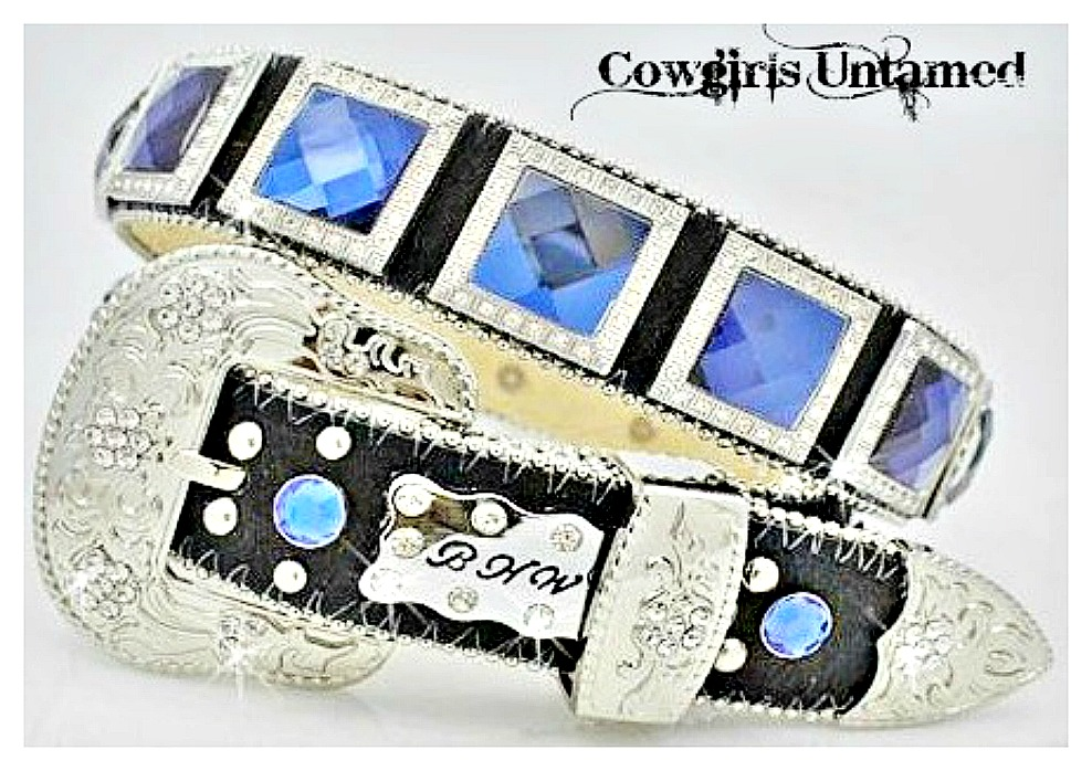 COWGIRL STYLE BELT Navy Blue Crystal with Rhinestones Square Conchos with Silver Rhinestone Buckle on Black Leather Western Belt 2 left!