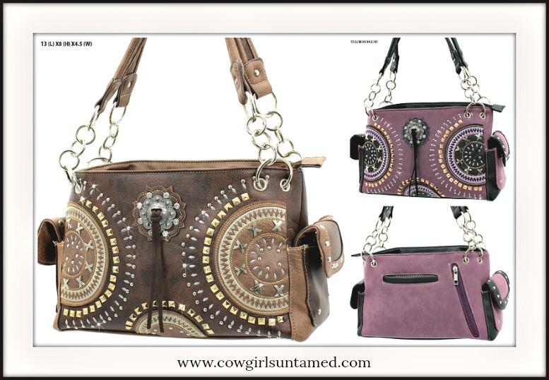 BOHEMIAN COWGIRL HANDBAG Geometric Pattern Leather Handbags  2 COLORS!