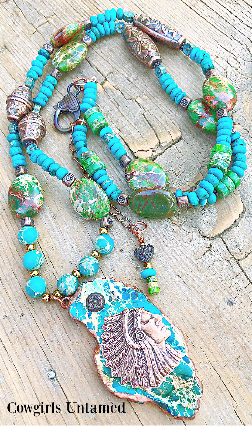 THE COPPER INDIAN NECKLACE Copper Indian Chief on Large Jasper Pendant Gemstone Beaded Necklace