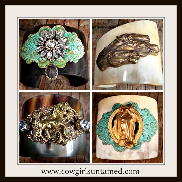 VINTAGE COWGIRL BRACELET Vintage Embellished Bone Cuff Bracelets