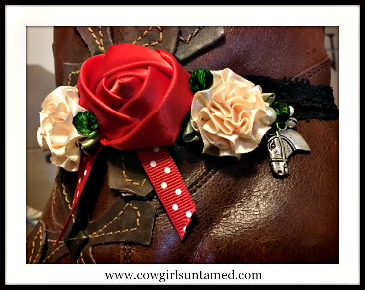 WILDFLOWER BOOT GARTER  Red White Silk Holiday Flower and Polka Dot Ribbon with Pearls & Crystals and Antique Silver Horse Charm Boot Cuff