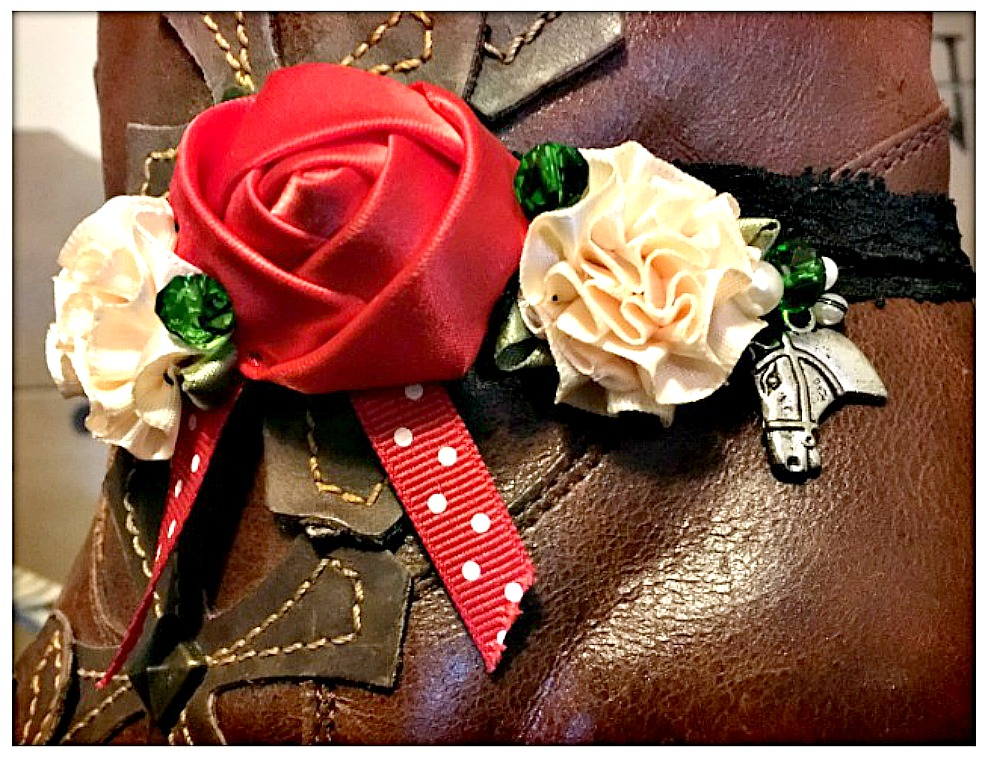 WILDFLOWER BOOT GARTER Red Silk Rose and Polka Dot Ribbon with Pearls & Crystals and Antique Silver Horse Charm Boot Cuff