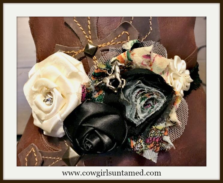 WILDFLOWER BOOT GARTER Cream N Black Silk Flowers Rhinestone Antique Silver Horse Charm Boot Cuff