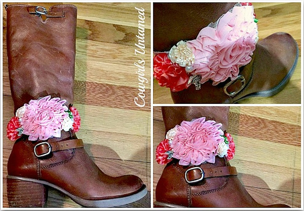 WILDFLOWER BOOT GARTER  Pink, Coral, Cream Green Flowers Pearl Crystal Antique Silver Horse Charm Boot Cuff