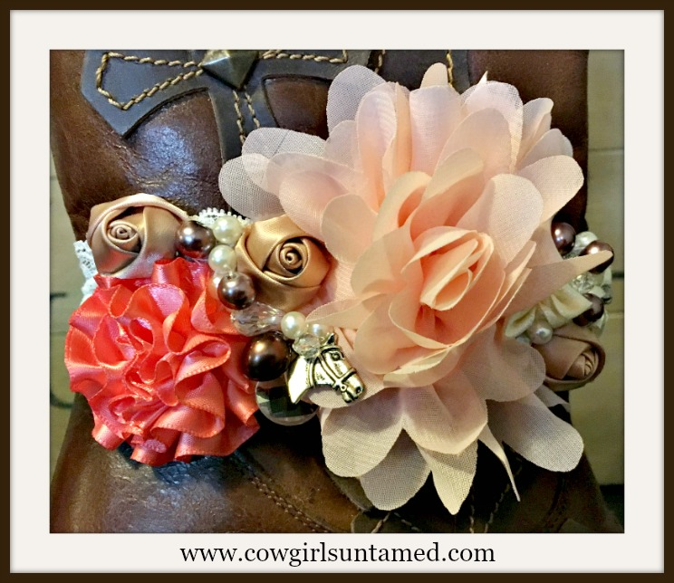 WILDFLOWER BOOT GARTER Pink, Coral, Cream & Gold Flowers with Pearls, Crystals, Rhinestones & Horse Charm Lace Boot Cuff