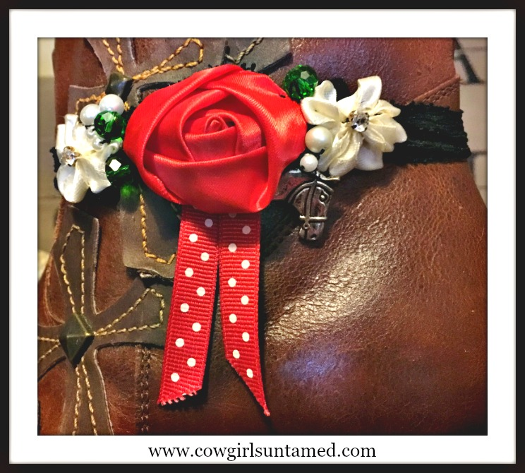 WILDFLOWER BOOT GARTER  Red White Flower Polka Dot Ribbon Pearls & Crystals Antique Silver Horse Charm Boot Cuff