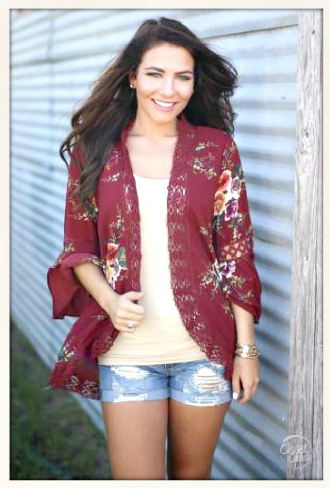 bce0d7389c Floral Chiffon and Lace Trim Red Boho Jacket