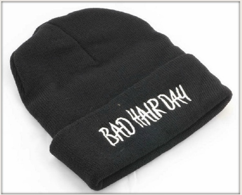 "BEANIE CAP White Embroidered ""Bad Hair Day"" Black Womens Winter Cap Beanie Hat"