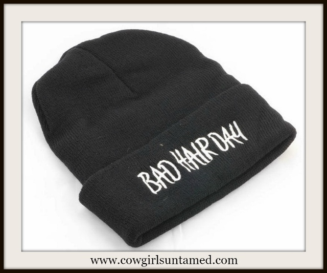 "BEANIE CAP White Embroidered ""Bad Hair Day"" Unisex Black Hat"
