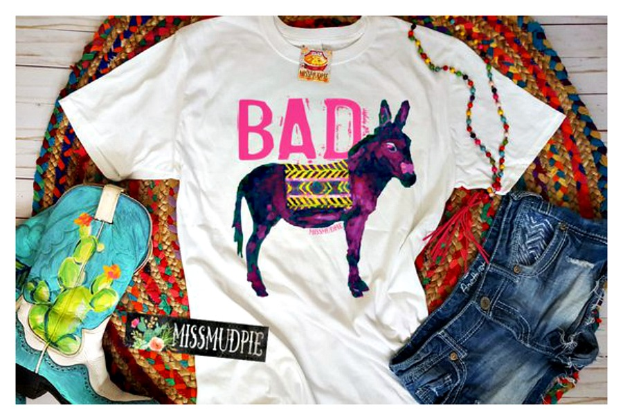 """BAD ASS TOP Neon Pink """"Bad"""" with Colorful Donkey (Ass) on White Short Sleeve T-Shirt"""