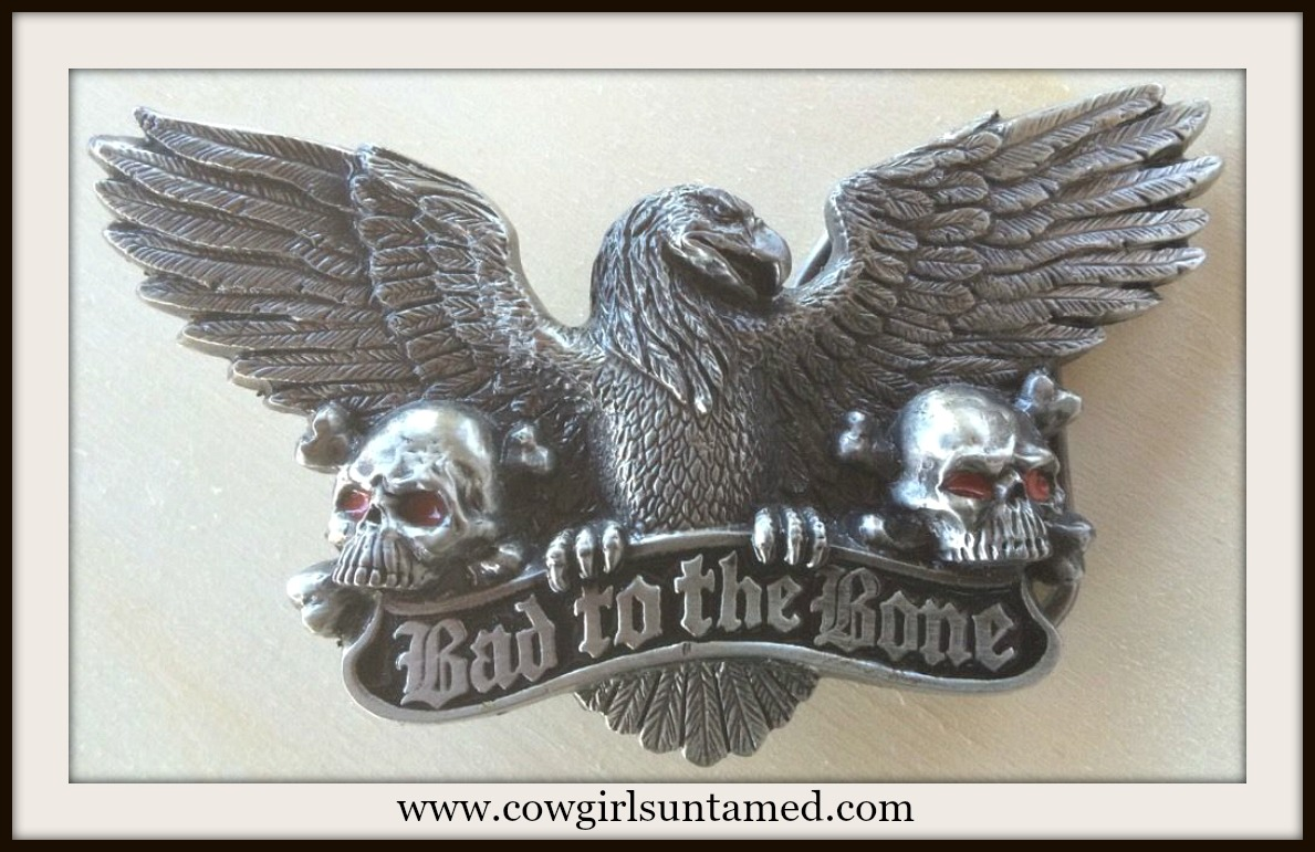 "OUTLAW COWGIRL BELT BUCKLE Pewter ""Bad to The Bone"" Antique Silver Skull and Eagle Belt Buckle"