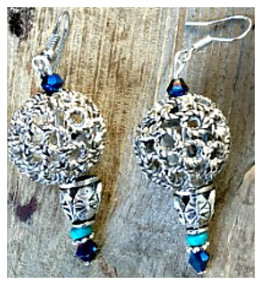 BOHEMIAN COWGIRL EARRINGS Antique Silver Filigree Boho Dangle Earrings  3 COLORS!