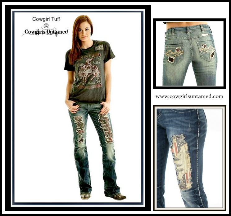 COWGIRL TUFF JEANS Boot Cut Medium Wash American Pride Jeans