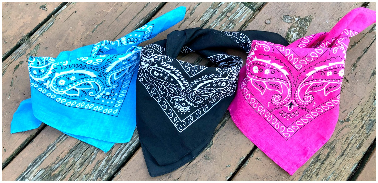 OH BANDANNA ME 2 Black or Turquoise or Pink Paisley Hair Mask Scarf Bandanna
