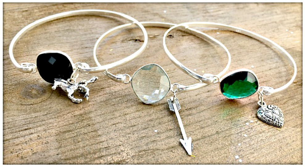 BOHEMIAN COWGIRL BRACELET Charmed Gemstone Sterling Silver Bangle