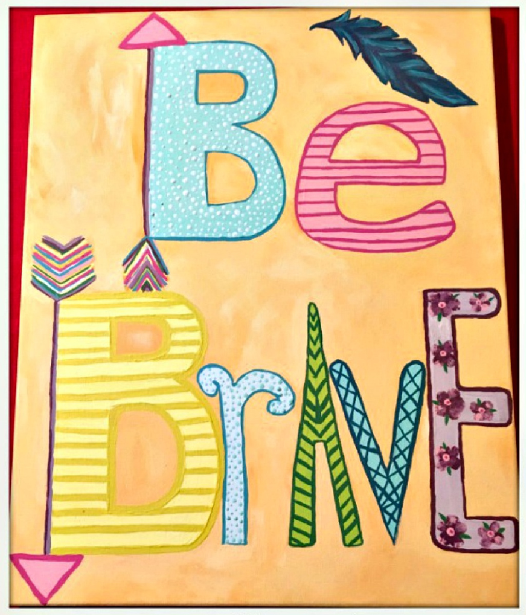 "BOHEMIAN COWGIRL PAINTING ""Be Brave"" Multi Color Feather Arrow Quote Hand Painted Canvas Wall Art  9 x 10 or 16 x 20"