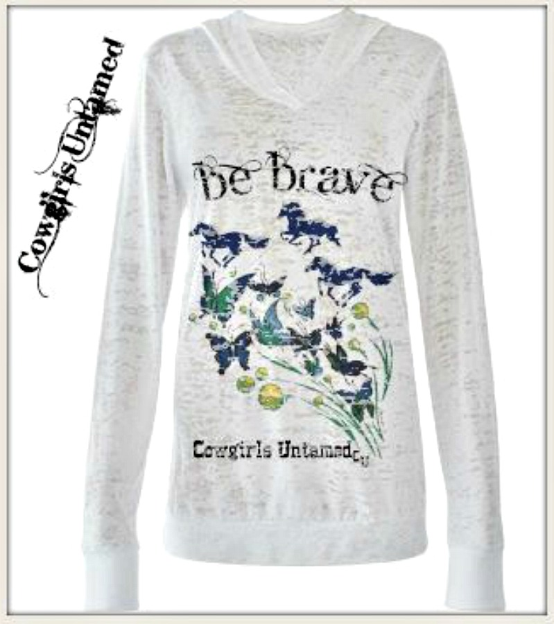 "COWGIRL ATTITUDE HOODIE ""Be Brave"" Blue Running Horses on Flying Butterflies Burnout Western Sweatshirt"