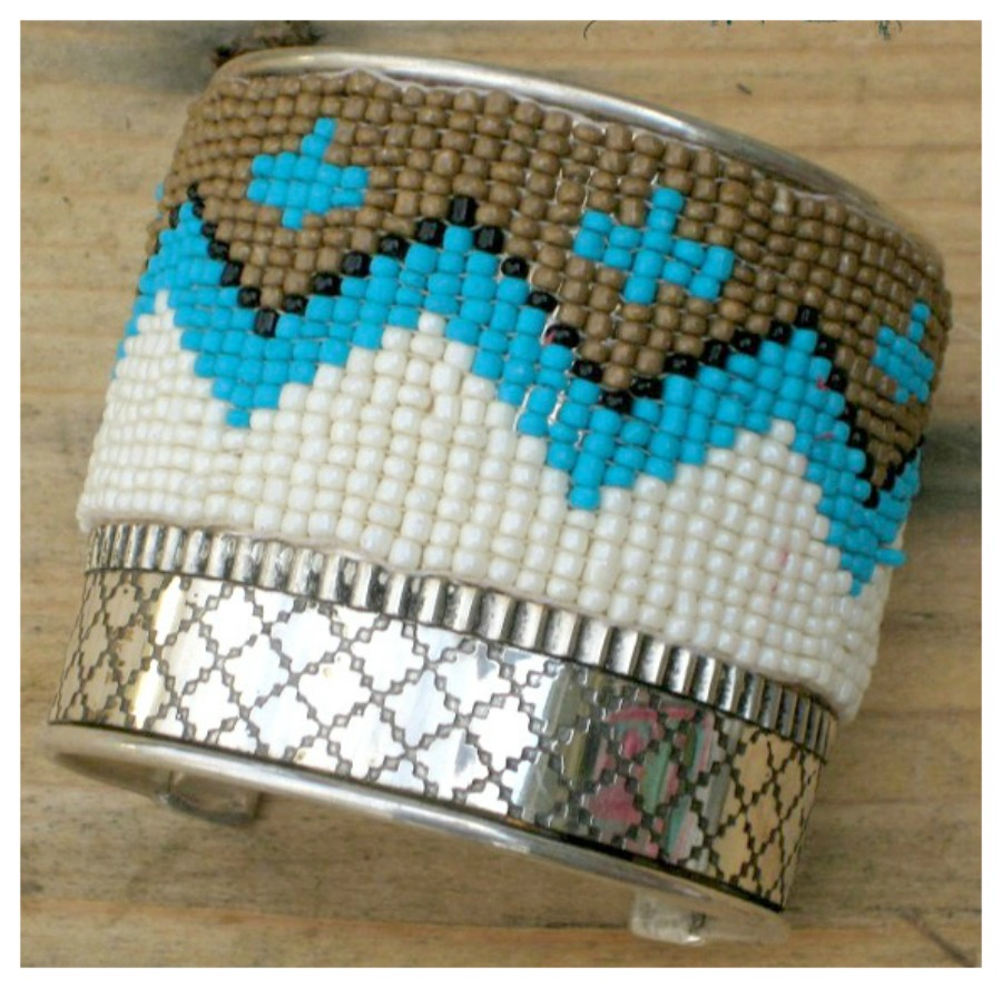 COWGIRL STYLE CUFF Indian Beaded Silver tone Wide Cuff Bracelet