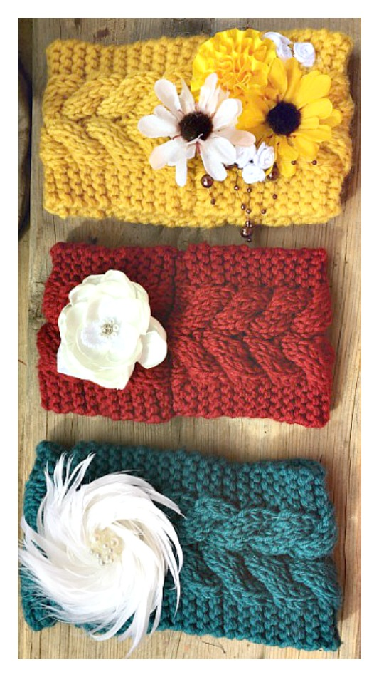 JUNK GYPSY HEADBAND Embellished Floral Knit Headband Ear Warmer  3 COLORS!