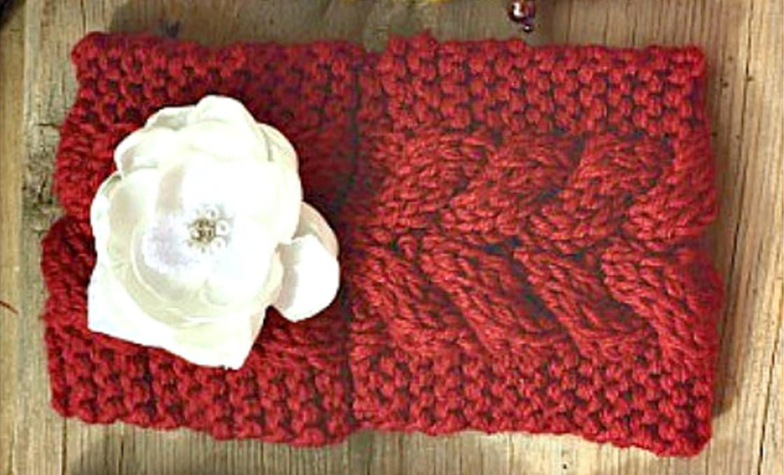 JUNK GYPSY HEADBAND Handmade Embellished White Rhinestone Floral Burgundy Red Knit Headband Ear Warmer  LAST ONE