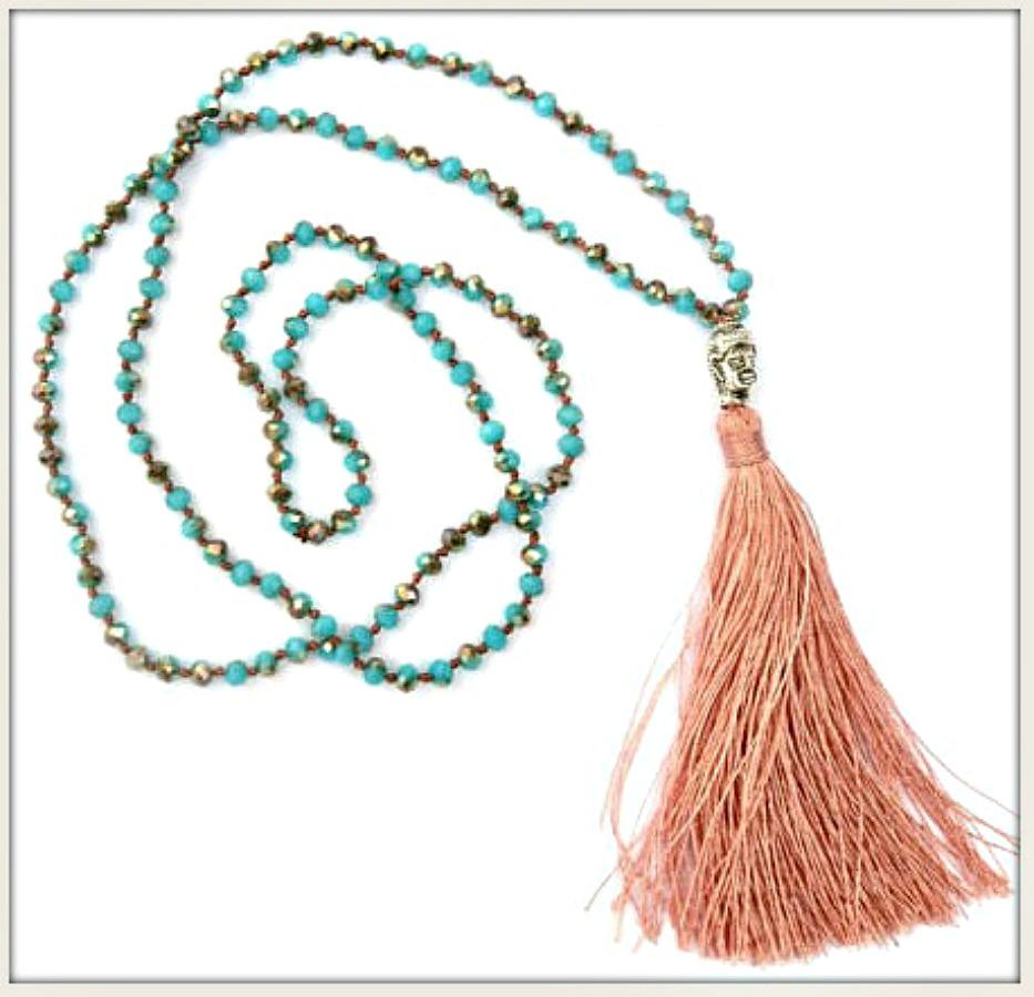 BOHO CHIC NECKLACE Silk Tassel Silver Buddha on Long Beaded Rosary Boho Necklace 2 COLORS