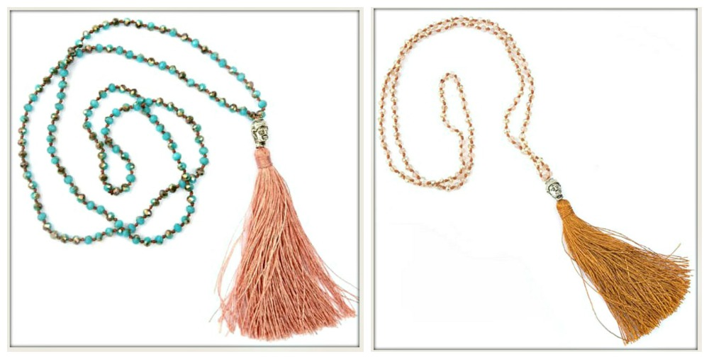 BOHO CHIC NECKLACE Silk Tassel Silver Buddha on Long Beaded Rosary Necklace
