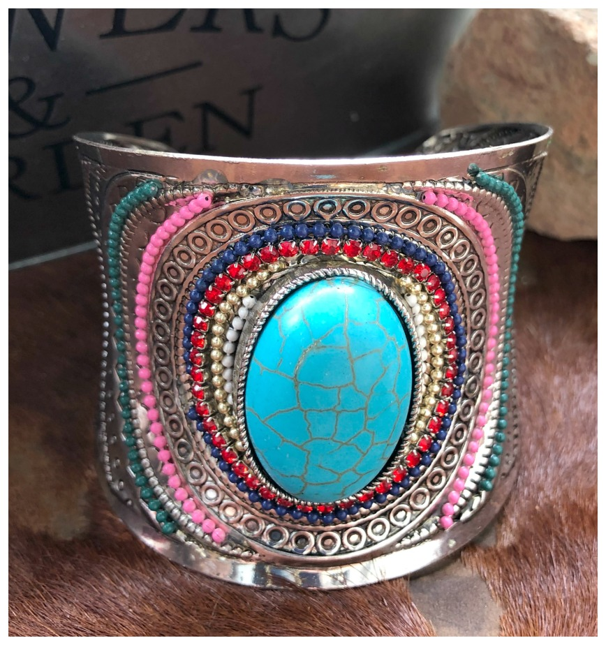 VINTAGE BOHEMIAN CUFF Beaded & Rhinestone Turquoise Wide Etched Silver Open Boho Bracelet 3 LEFT