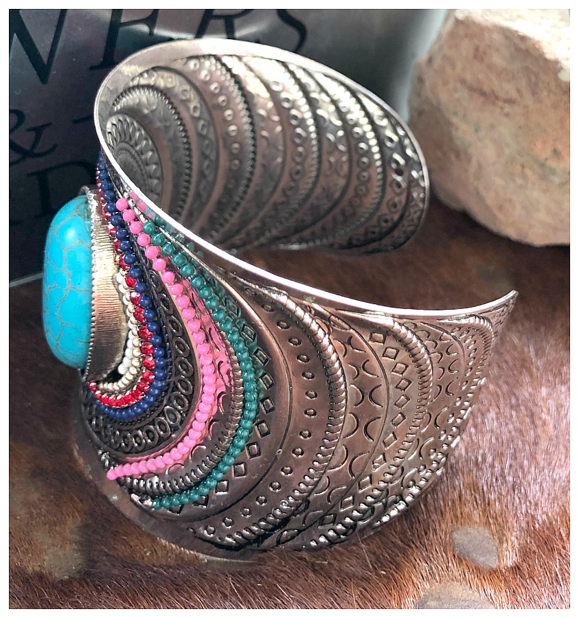 Beaded Amp Rhinestone Turquoise Wide Etched Silver Open Boho