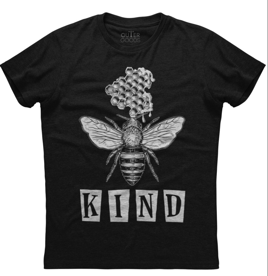 """BEE KIND TEE White Bumble Bee Honeycomb """"Kind"""" Short Sleeve Womens Black Cotton Top T-Shirt S-4X"""