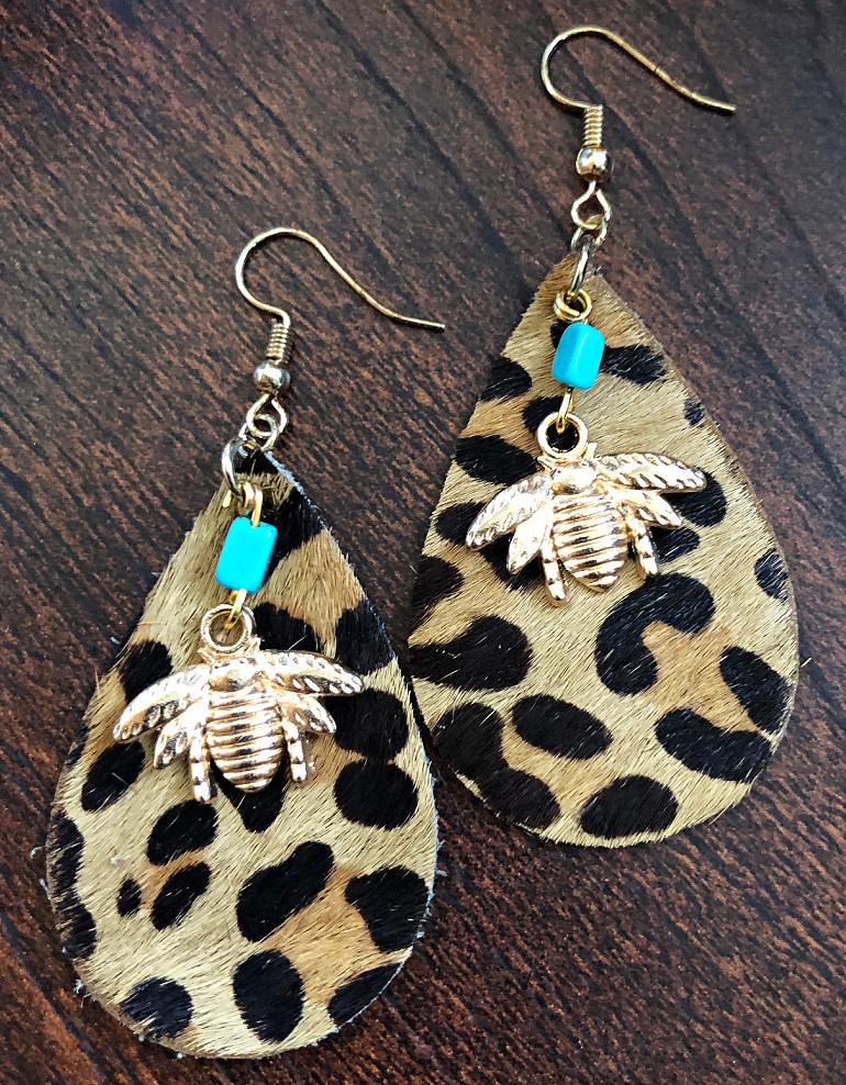 BEE KIND EARRINGS Handmade Golden Bee Turquoise Charm on Hair on Hide Teardrop Leopard Leather Dangle Earring
