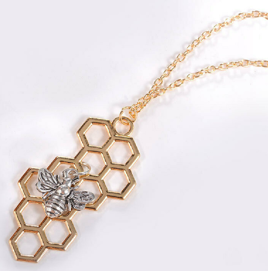 BEE KIND NECKLACE Silver Bee Charm Gold Honeycomb Womens Necklace