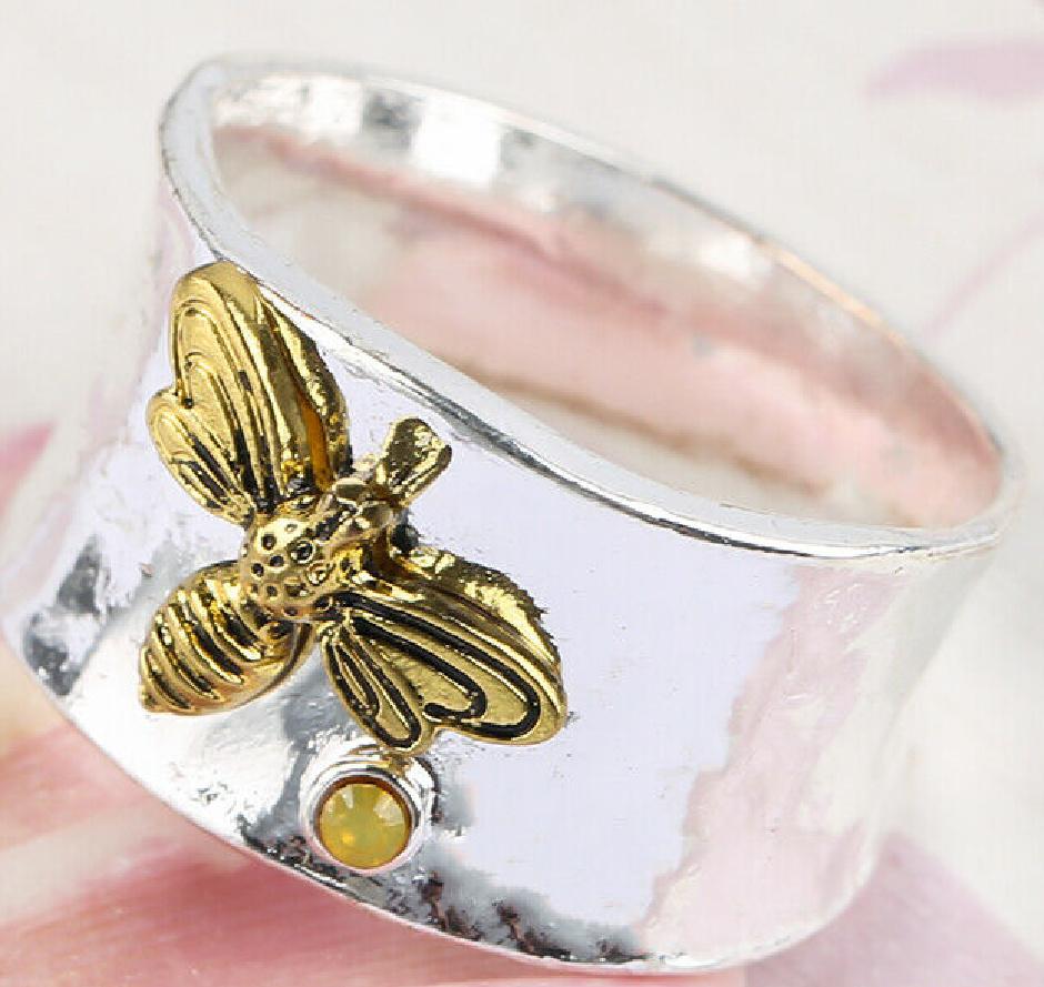 BEE KIND RING 925 Silver Women Handmade Wide Band Bee Ring w/ Yellow Gemstone
