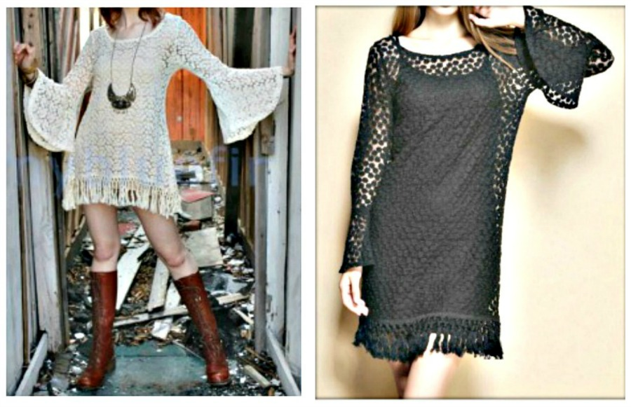 COWGIRL GYPSY DRESS Crochet Lace N Fringe Bell Sleeve Boho Mini Dress/ Tunic Top
