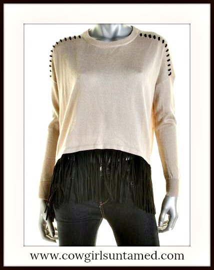 DESIGNER SWEATER Beige Knit Fringe Hem  Laced Shoulder Seamed Designer Sweater