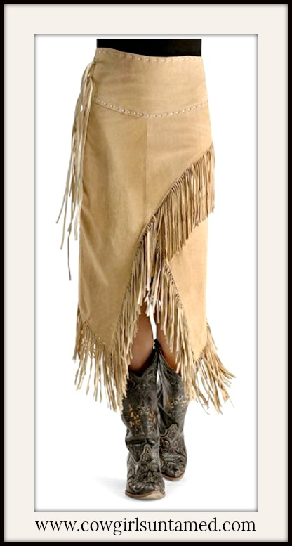 BOHEMIAN COWGIRL SKIRT Tan Suede Leather Fringe Long BOHO Skirt